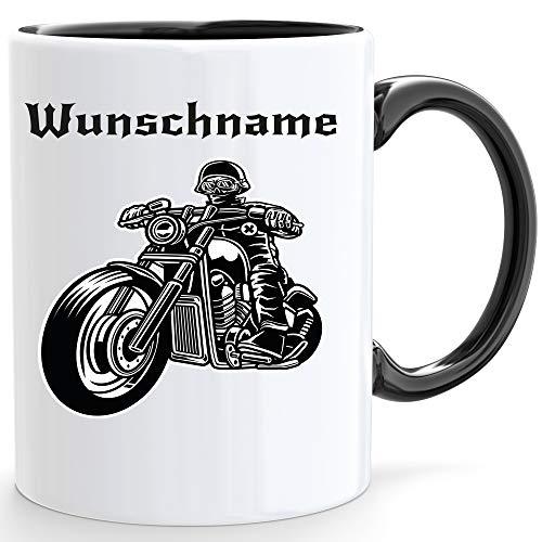 Beschdstoff Motorrad Tasse mit Personalisiert in weiß/Innen und Henkel ist schwarz mit Bild und Wunschname/Größe Kaffeetasse / 330ml
