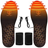 DEGBIT Fast Heating Rechargeable Heated Insoles, Battery Powered Electric Foot Warmers, 3 Adjustable High Temperatures for Winter Sports, Waterproof Design, Unisex Size 4.5-14 for Men and Women