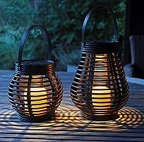 Gadgy ® Solcellslampa i rotting trädgård ljuslykta | Träimitation | Set om 2 lyktor l rottinglykta med LED för utomhusbruk