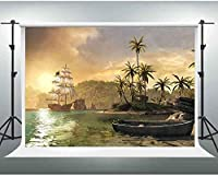 HiYash 10x8ft 自然の風景の背景湖の島の写真背景写真誕生日パーティー赤ちゃんの誕生日の装飾バナー美しい記憶記録ビニール素材で家の装飾