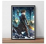 Pintura en lienzo Sword Art OnlinePoster Japón Videojuego Anime Prints Art Wall Pictures para la decoración de la sala de estar -50x70cm Sin marco