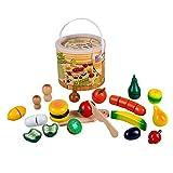 #11 Kaufladenzubehör Obst und Gemüse zum Schneiden, aus Holz, inkl. Messer, 30 Teile: Zubehör für Kinder Spielzeug Küche Kaufladen