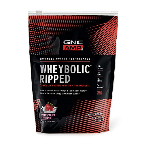 GNC AMP Wheybolic Ripped Whey Protein Powder - Strawberries and Cream, 9 Servings, Contains 40g Protein and 15g BCAA Per Serving
