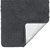 Gorilla Grip Luxury Chenille Bathroom Rug Mat, 30x20, Extra Soft and Super Absorbent Shaggy Rugs, Machine Wash, Quick Dry Bathmat, Plush Carpet for Tub, Shower and Bath Room Floor Mats, Charcoal