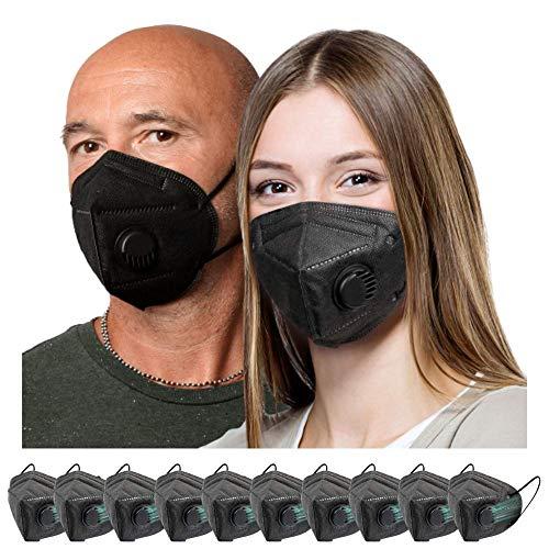 Black Masks Disposable 10 Pack | Sport Face Mask with Valve Black Colors
