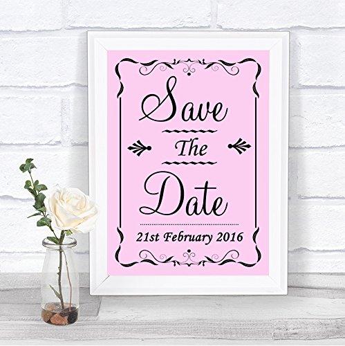 Roze Bewaar de datum Gepersonaliseerd Bruiloft Teken Framed Oak Small