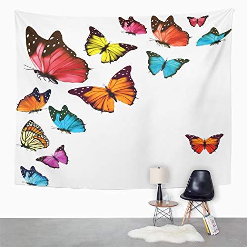 Y·JIANG Tapiz de mariposas coloridas, diseño de mariposas, color blanco, rosa, negro, para el hogar, dormitorio, 152,4 x 127 cm
