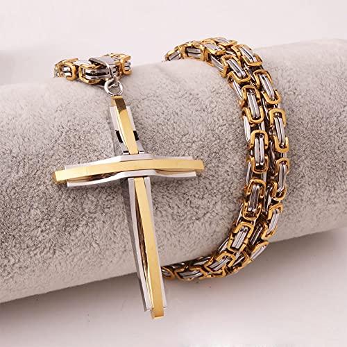 WYPAN Colgante de Cruz Negra Gótica con Collar de Cadena de Rey Grande Vintage de Acero Inoxidable Regalos de Joyería Religiosa Simple para Hombres Y Mujeres,Mixed Gold,70cm