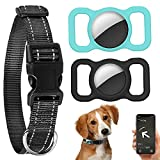 2 Pack Air Tag Case with Collar, Apple AirTag Protective Tracker Holder Silicone Anti Lost Dog GPS Locator Cover Lightweight Pet Loop Holder Accessories for Airtags School Backpack