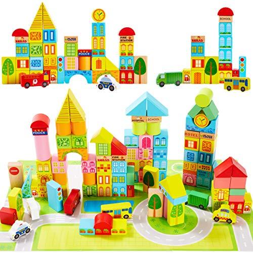 Onshine 100 Stück Bausteine Bauklötze Holz mit Puzzle-Karte und Koffer, Bunte Holzbausteine Holzspielzeug für Kinder Baby