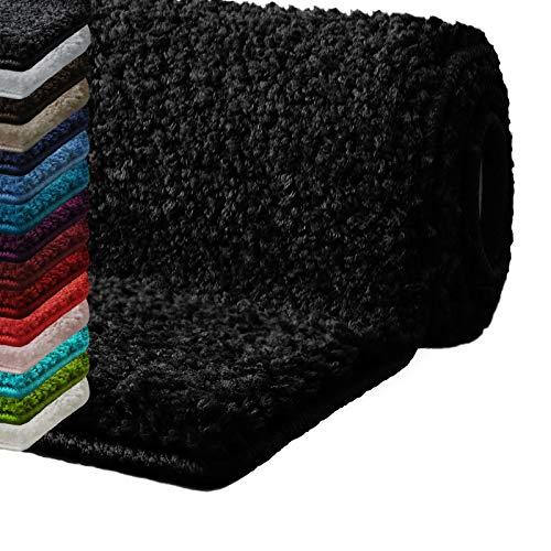 Badematte Hochflor Sky Soft | Weicher, Flauschiger Badezimmerteppich in Shaggy-Optik | Badvorleger rutschfest waschbar | schadstoffgeprüft | 16 Farben in 6 Größen (50x80 cm, schwarz)