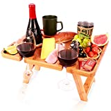 NATURE FACTORY Bamboo Wine Picnic Table with Glass Holder and Snack Tray, 16.9 x 13, Fun Portable Travel Size Foldable for Beach, Park, and Outdoor Camping, Medium (Medium)