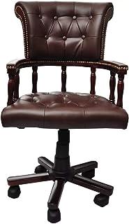 Tuduo Fauteuil Bureau Chesterfield Direzionabile Cuir Cafe Elegant Confortable Et Simple Chaise Tabouret