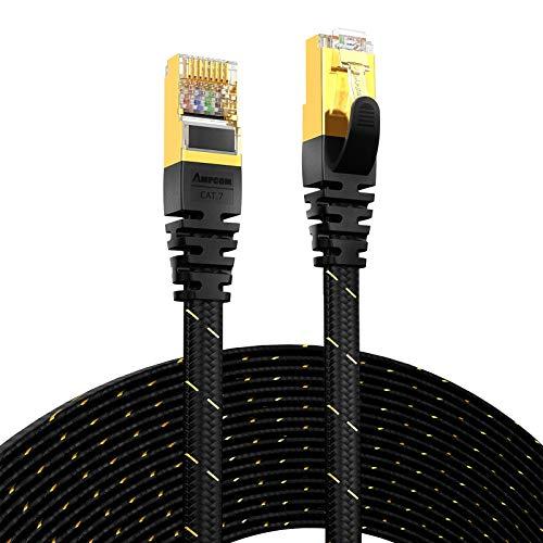 Cable de Red con Cable Ethernet CAT7 (10G 600MHz), Parche de Red RJ45 Plano blindado  Cordón, Cable Plateado de Oro 50U, poliéster Trenzado para Internet (Color : CAT7 Black, Length : 20M)