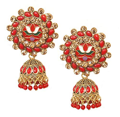 Pahal Traditional Red Kundan Meenakari Enamel Oxidized Big Gold Jhumka Earrings Indian Bollywood Polki Jewelry for Women