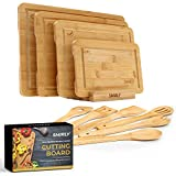 Smirly Bamboo Cutting Board for Kitchen: Set of 4 Butcher Block Wood Cutting Boards with Holder & 6...