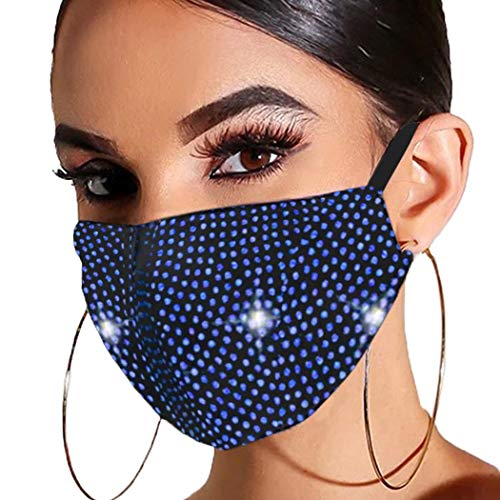 Barode Sparkle Rhinestones Mask Crystal Black Masquerade Clubwear Halloween Face Masks Jewelry for Women and Girls (Blue)