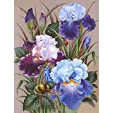 SINACO Diamond Painting Kit para adultos 5D DIY Full Round Drill Diamond Painting Sets Diamond Painting Tools for Home Decor Blue Iris Flower 11,8 x 15,7in by