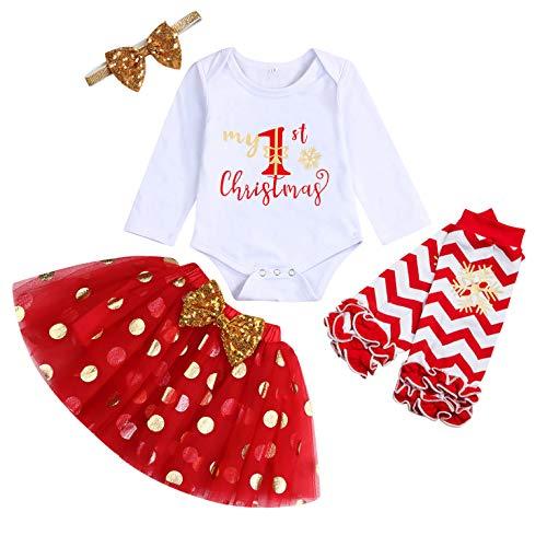 My First Christmas Clothes Baby Girls My 1st Christmas Romper top + saia tutu de bolinhas + polainas + faixa de cabeça conjunto de 4 peças, Red-b, 3-6 Months