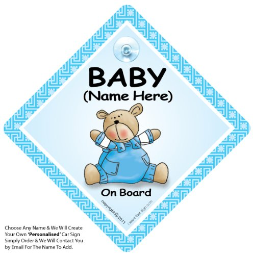 Señal de bebé a bordo con texto en inglés