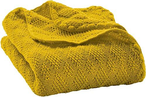 Disana Manta para bebé, 80 x 100 cm, hecha de lana virgen de merino amarillo amarillo curry