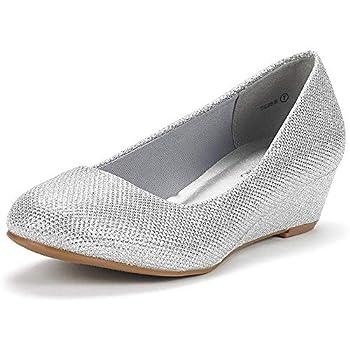 DREAM PAIRS Women s Debbie Silver Glitter Mid Wedge Heel Pump Shoes - 7.5 M US