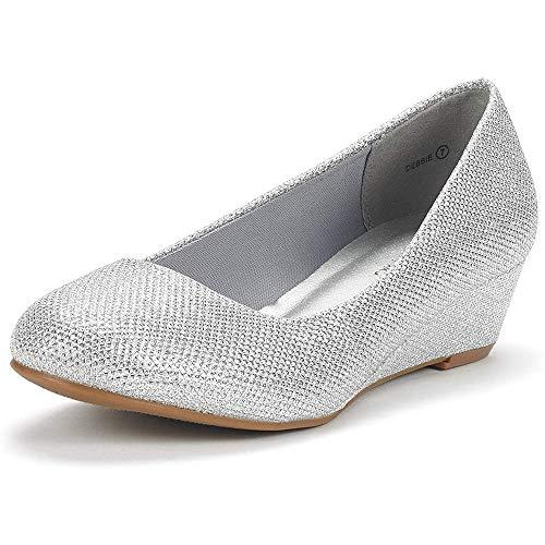 DREAM PAIRS Women's Debbie Silver Glitter Mid Wedge Heel Pump Shoes - 9.5 M US