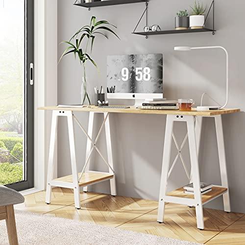 Blanketswarm, scrivania da lavoro per computer portatile, scrivania da ufficio, scrivania compatta, scrivania per studio, scrivania in legno industriale con gambe in metallo, 140 x 56 cm
