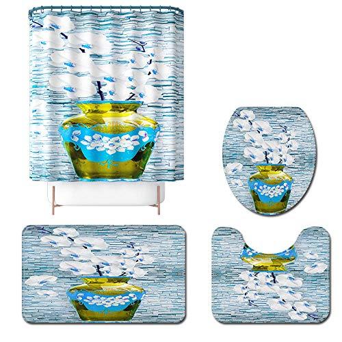 Claean-Acces-Home Alfombra Baño Infantil Cortina De Baño Floral Y Cortina De Ducha Set Micorfiber Baño Alfombra Anti Deslizamiento Aseo De Inodoro para Pie Absorbente-4Pcs-610