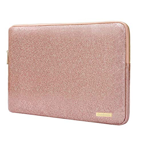Laptop Sleeve Compatible 13-13.3 Inch MacBook Pro Retina/MacBook Air/Surface Laptop,Waterproof Glitter PU Leather Vertical Style Padded Bag Protective Case Cover, Rose Gold