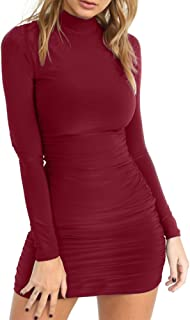 TOB Women's Sexy Stand Neck Long Sleeve Ruched Bodycon Mini Club Dress