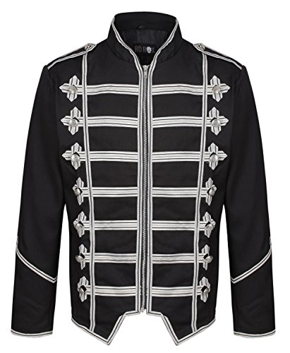 Ro Rox Men's Steampunk Military Parade Gothic Jacket - Black & Silver (XXX-Large)