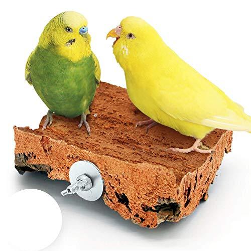 Korksitzbrett 10x10 cm mit Edelstahl Halterung für den Vogelkäfig | Sitzbrett für Wellensittich, Nymphensittich und Papagei zum Schreddern
