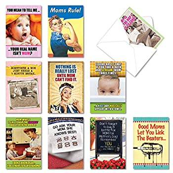 NobleWorks - 10 Assorted Mother s Day Cards with Envelopes - Boxed Funny Cards for Mom Stepmom Women - Mom Always Knows Best AC6782MDG-B1x10