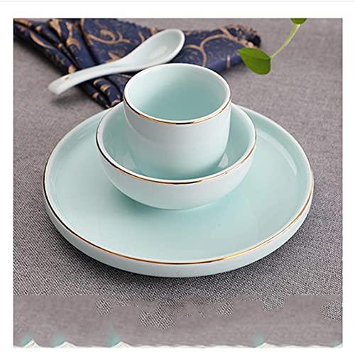 XIAN Cuchara de moda moderna La vajilla de cerámica de cuatro piezas para el hogar con cuenco dorado y cuchara se puede lavar en el lavaplatos adecuado para uso diario (Color (B: B)