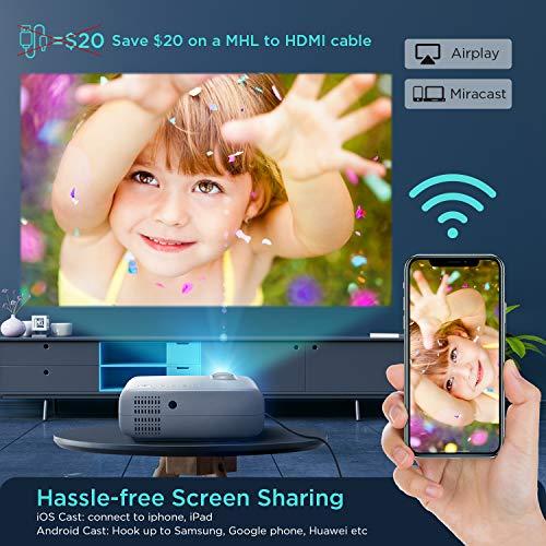Vidéoprojecteur WiFi, ABOX Projecteur Portable 6000 Lumens avec Haut-parleur HIFI 1080P Supporté Retroprojecteur Home Cinéma 300'' Display Compatible avec Telephones/PC/TV Box/PS4/Chromecast-Blanc