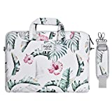 MOSISO Laptop Shoulder Bag Compatible with 13-13.3 inch MacBook Pro, MacBook Air, Notebook with Back Trolley Belt, Canvas Pattern Carrying Handbag Briefcase Sleeve Case Cover, Banana Leaf
