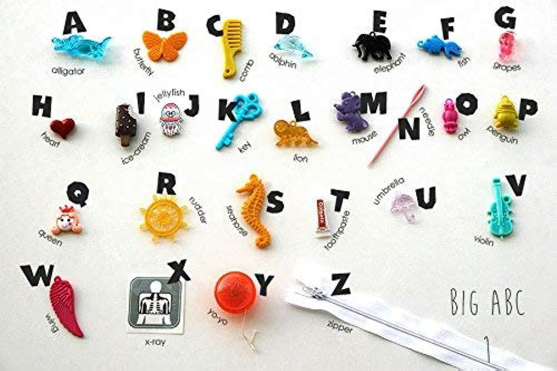 Big ABC trinkets for Montessori Alphabet Box, Language Miniatures, Early Education, I spy Sound Box, Phonetic Sounds, ABC Box, 2.5-8cm, 1 3 5 Objects per Letter (Big ABC Set 1)