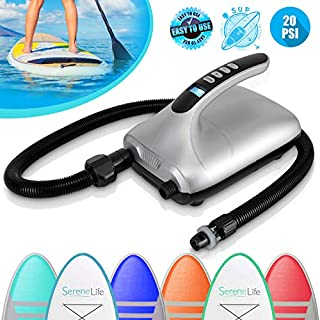 Digital Electric Air Pump Compressor - 110W 12 Volt Quick Air Inflator / Deflator w/ LCD, 0-20 PSI - For Inflatable SUP Stand Up Paddle Board / Boat, Water Sports Inflatables - SereneLife SLPUMP30