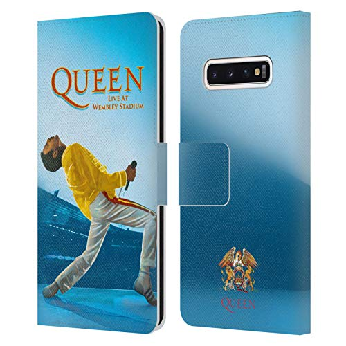 Head Hülle Designs Offizielle Queen Freddie Mercury Live at Wembley Kunst Leder Brieftaschen Handyhülle Hülle Huelle kompatibel mit Samsung Galaxy S10