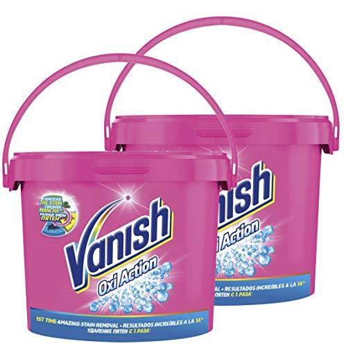 Vanish Crystal White Oxi Action - Quitamanchas para Ropa Blanca y de Color, en Polvo - Pack de 2 x 2.4 kg