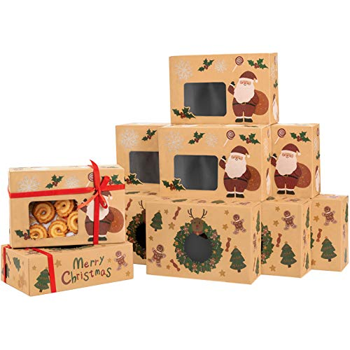 Sunolga Cookie Gift Box For Christmas 20 pack Kraft Bakery Boxes With Window And Christmas Stickers Biscuits Candy Dessert Holiday Treat Box For Christmas
