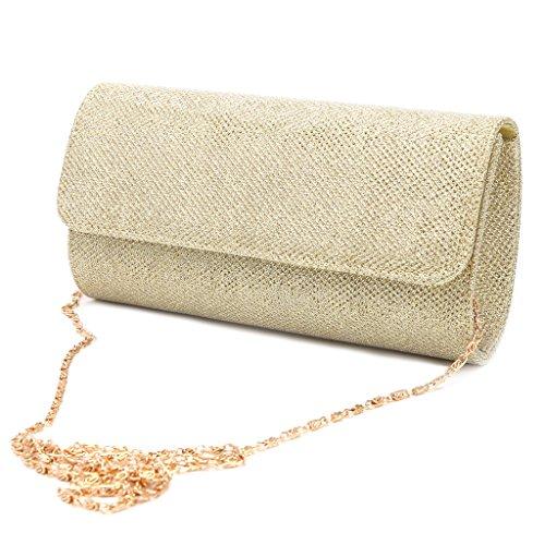 Njuyd Mini cartera de moda para mujer, bolsa de hombro para novia, fiesta, graduación, boda, bolso de mano, Gold (Dorado) - njuyd