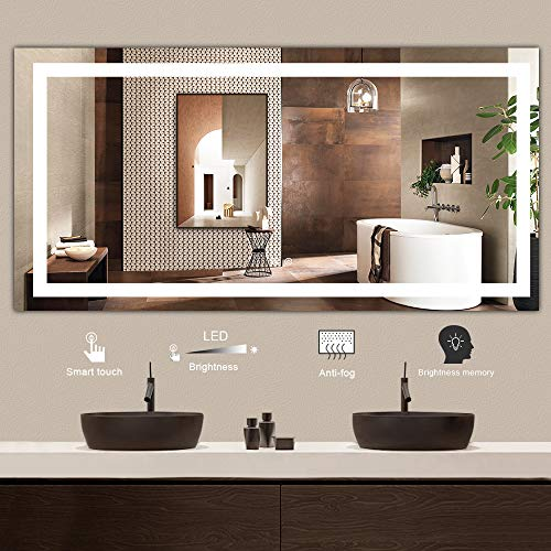 TETOTE 72 x 36 Inch LED Lighted Bathroom Home Vanity Mirror Anti-Fog Wall Mounted Square Mirror Large Dimmable Makeup Mirror with Lights