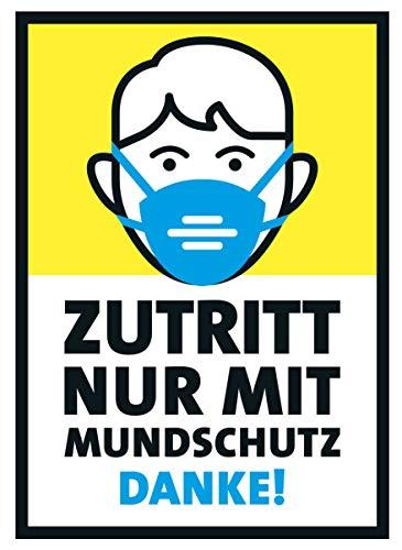 FRUITPRINTS StarfruitSigns - 5er Set Poster - Zutritt nur mit Mundschutz - Gelb & Blau - Format A4 - Mundschutzpflicht - Hinweise für Tür Fenster Wand