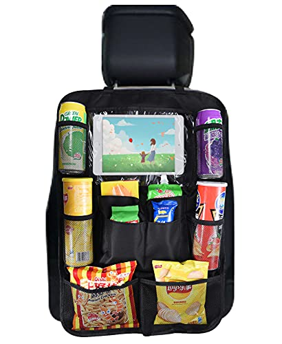Exptolii Auto Rückenlehnenschutz, Auto Rücksitz Organizer für Kinder,Rücksitzschoner Kick-Matten-Schutz für mit Durchsichtigem iPad-Tablet-Halter
