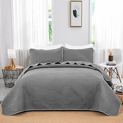 WONGS BEDDING Tagesdecke 240x260 cm Bettüberwurf Grau Wohndecke Mikrofaser Gesteppter Bettdecke Doppelbett Stepp Decke als Schlafzimmer Steppdecke mit 2*50x70 cm Kissenbezug für Bett