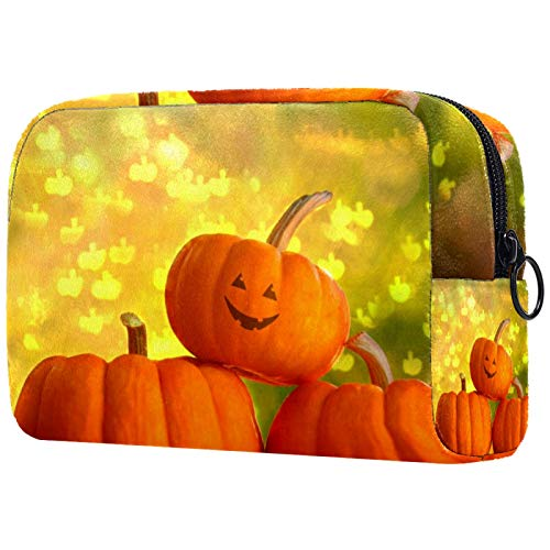 Cosmetic Bag Womens Makeup Bag for Travel to Carry Cosmetics Change Keys etc,Yellow Pumpkin Halloween