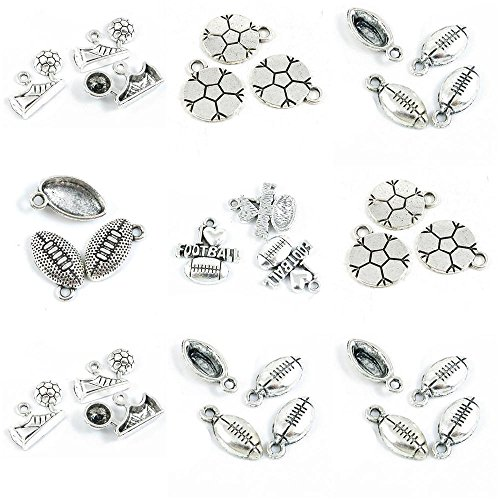 30 Pieces Antique Silver Tone Jewelry Making Charms American Football Shoes Cleats Flat I Love Soccer