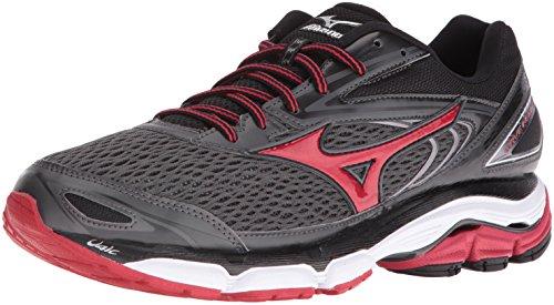 Mizuno Men's Wave Inspire 13 Running Shoe, Gunmetal/High Risk Red, 7.5 D US